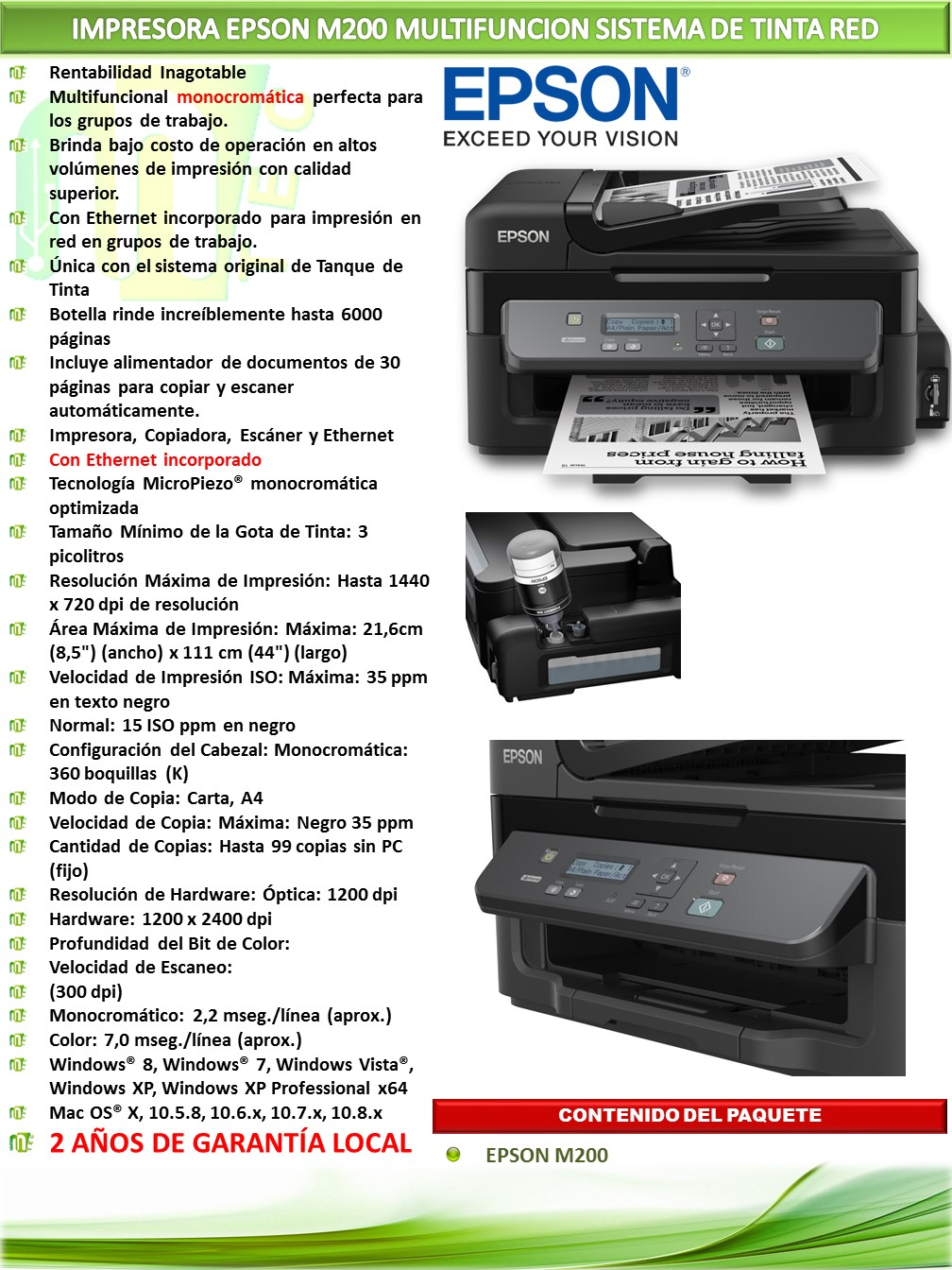 Impresora Epson Workforce M200 Mtec