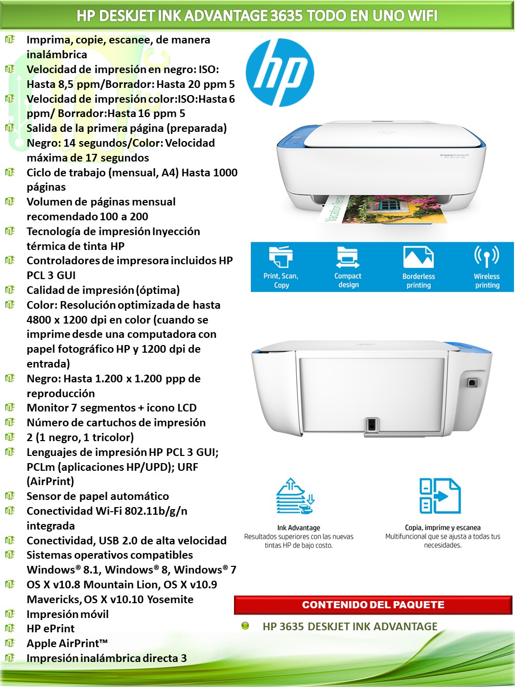 Hp Deskjet Ink Advantage 3635 Todo En Uno Wifi Mtec