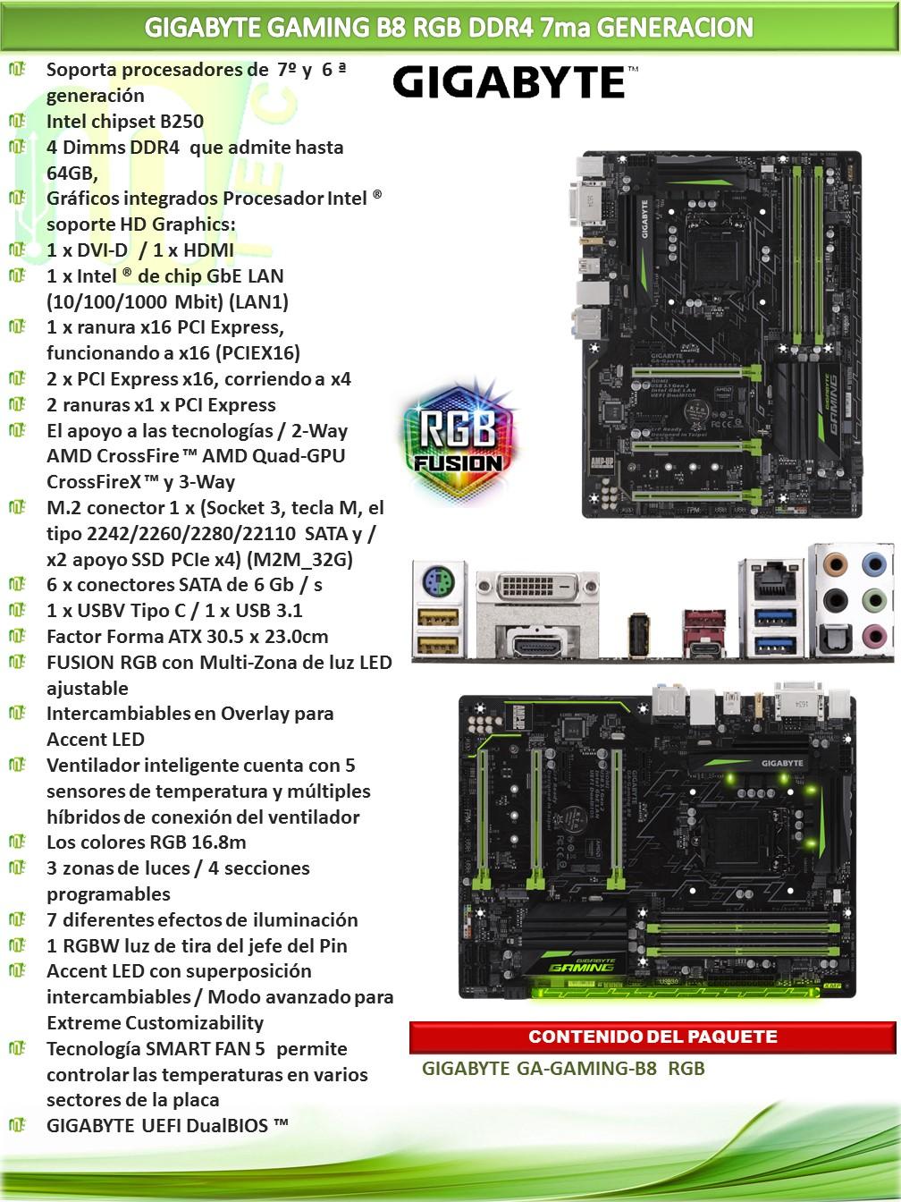 GIGABYTE GAMING B8 RGB 7MA GENERACION | MTEC