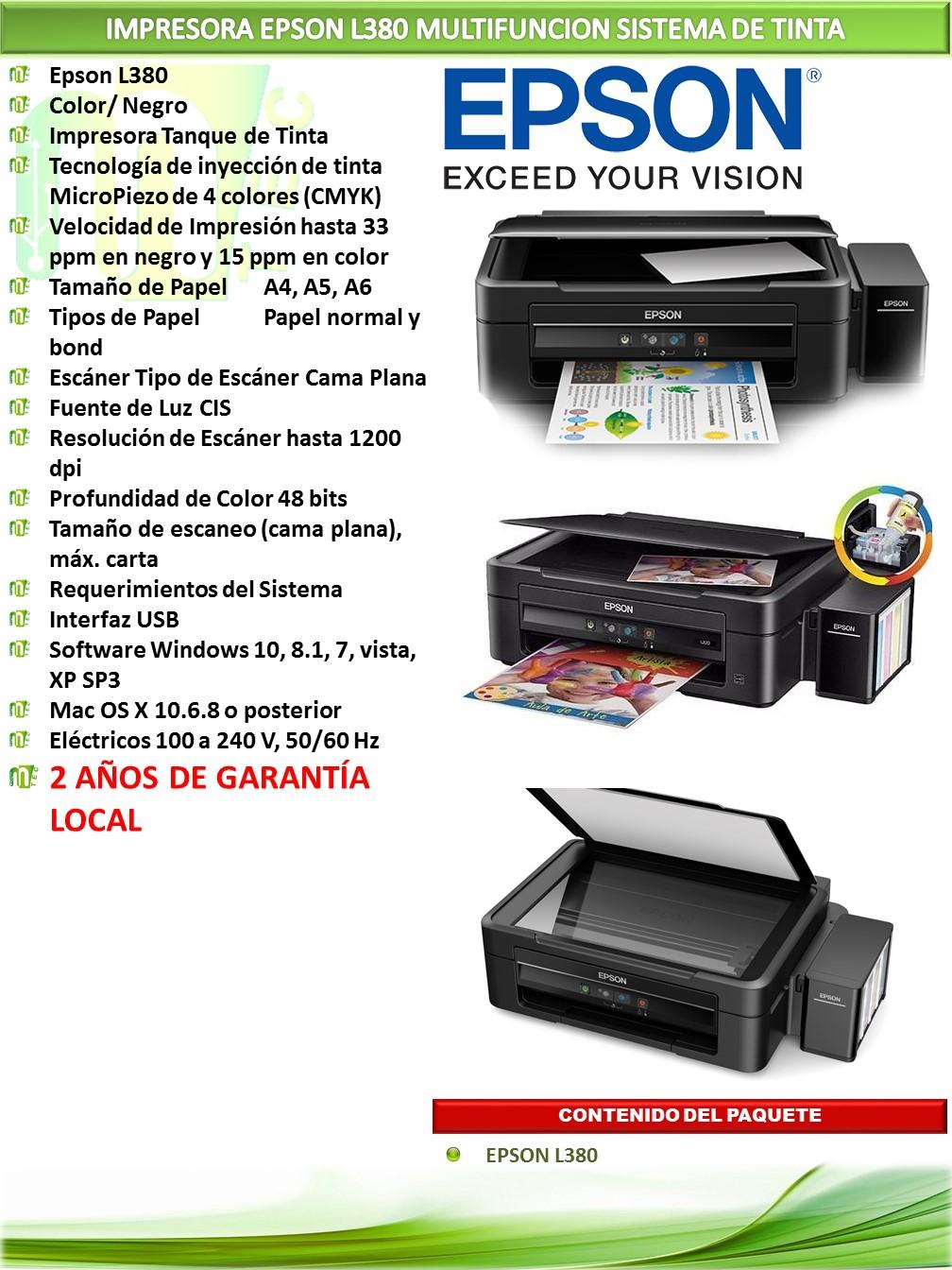 Epson L380 Impresora Multifunci 243 N Sistema De Tinta Mtec