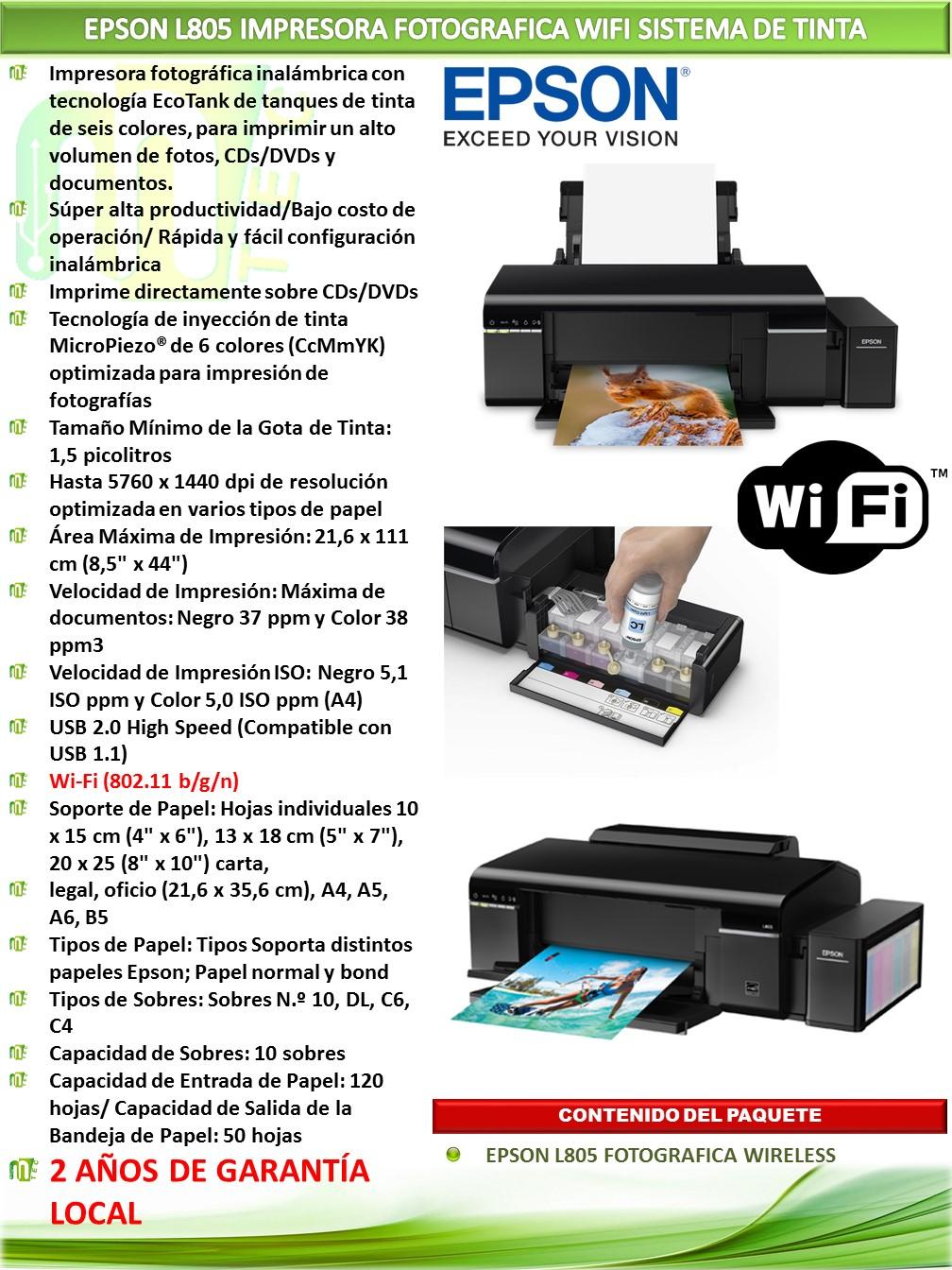 Impresora Epson Ecotank L805 Mtec Mainboard Wifi Descripcin