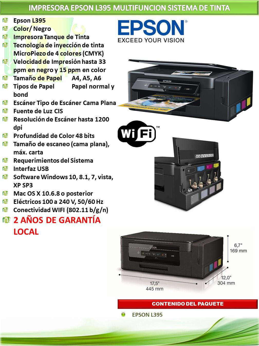 Impresora Epson L395 Multifuncion Sistema De Tinta Mtec