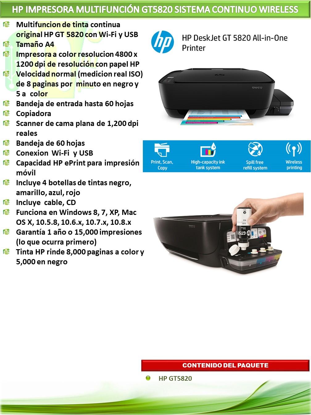 Hp Impresora Multifunci 211 N Gt5820 Sistema Continuo Wireless